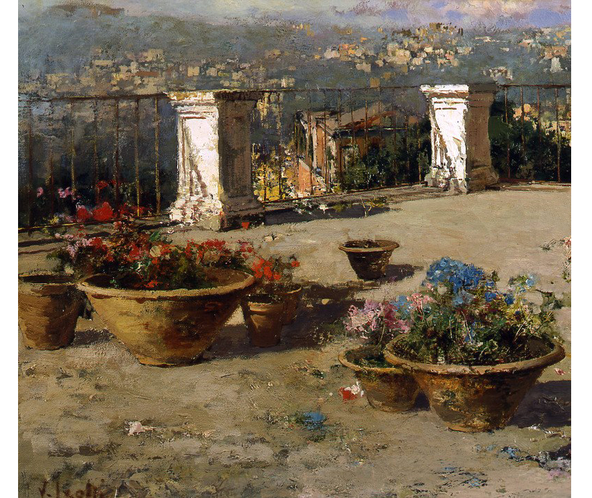 Dettaglio, Vincenzo Irolli (Napoli 1860 - 1949) Sulla terrazza
