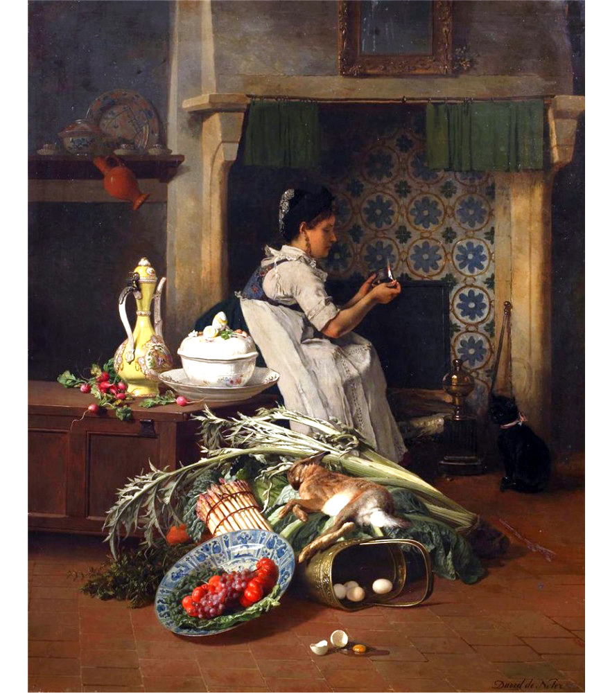 Emile Joseph de Noter (Belgian Painter 1825_1892), Kitchen maid with game and vegetables