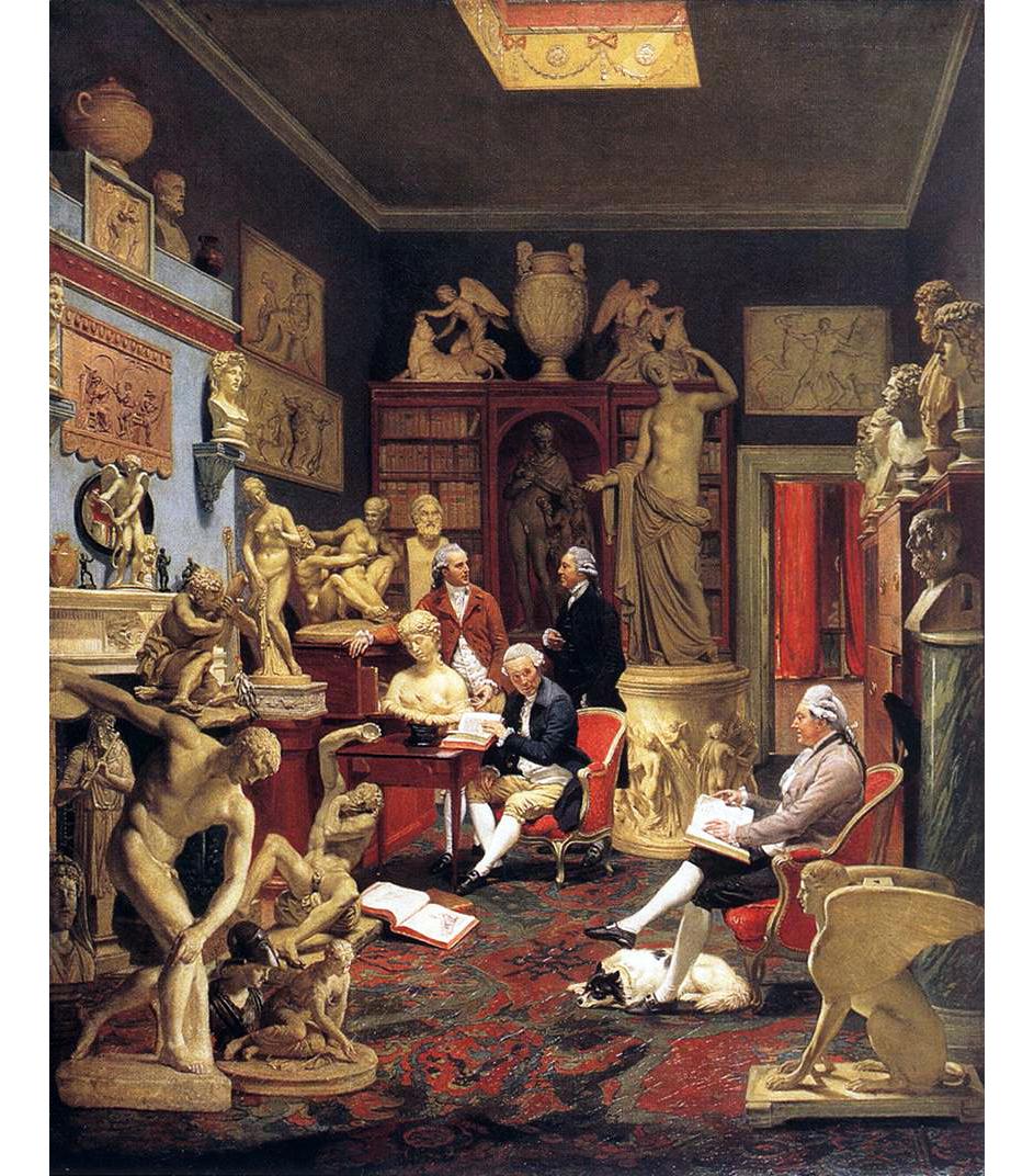 RECUPERANDO Johann Joseph Zoffany, Charles Towneley con i suoi amici, nella sua Galleria al n.7 di Park Street, Westminster, 1783