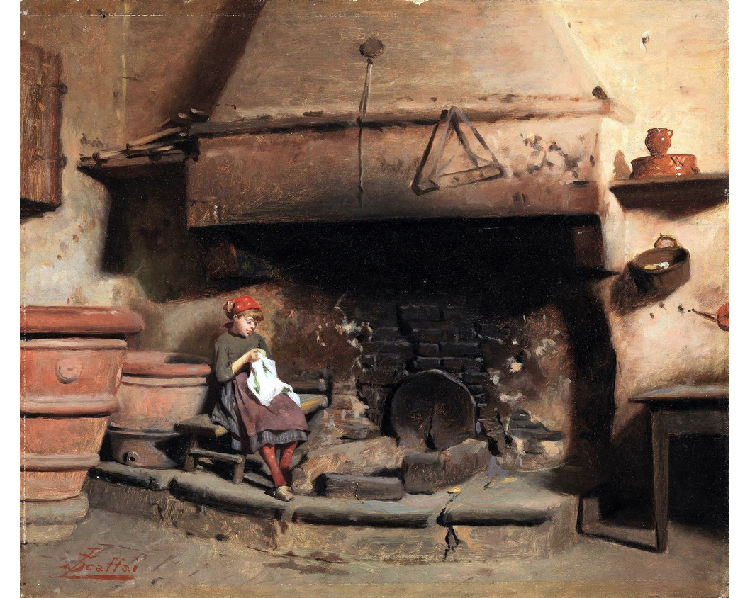 Luigi Scaffai (Firenze 1837-1899) Al focolare, Collezione Privata