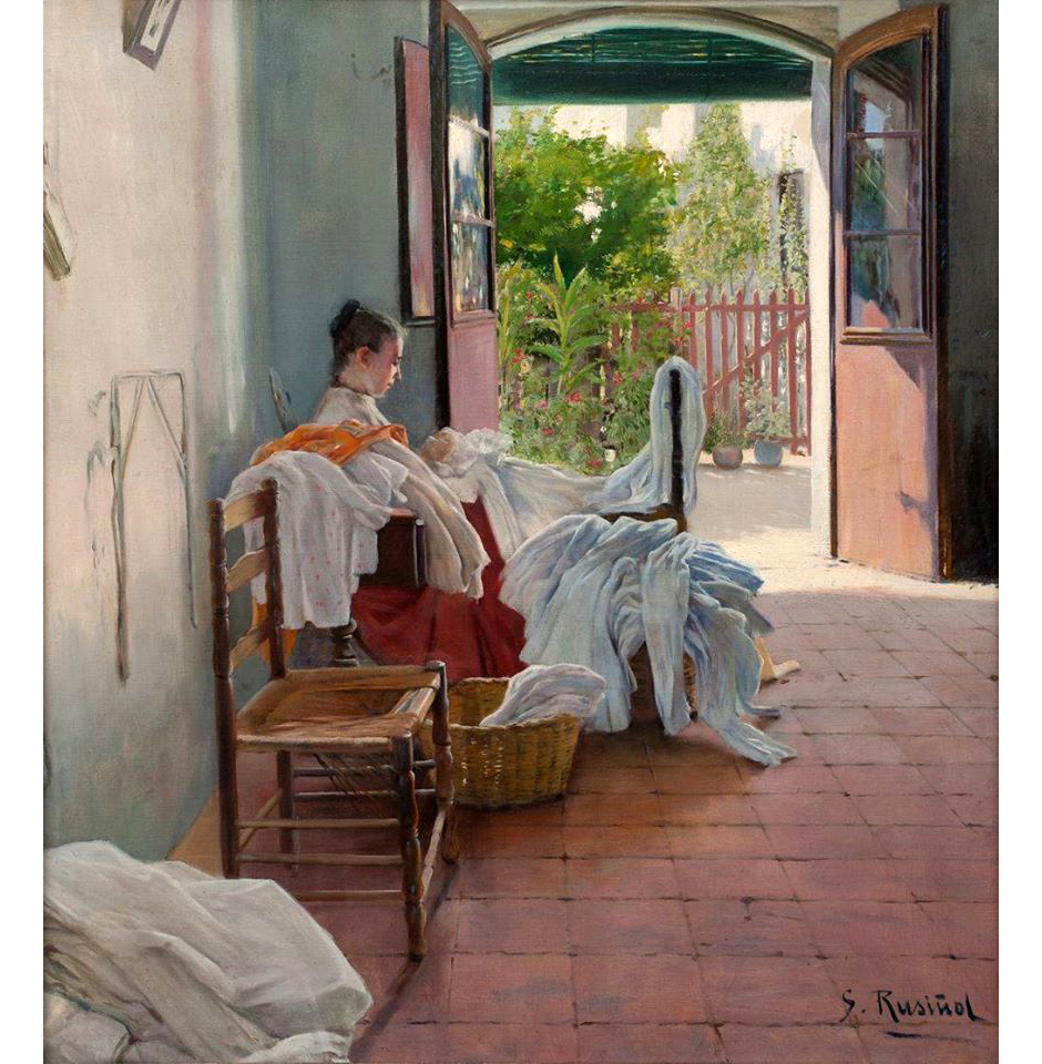 Rusinol Santiago (1861_1931) Interior with Woman Sewing