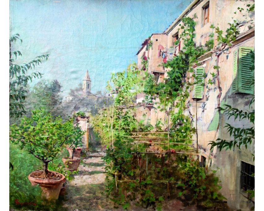 Telemaco Signorini, Giardino a Settignano, olio su tela applicata a cartone